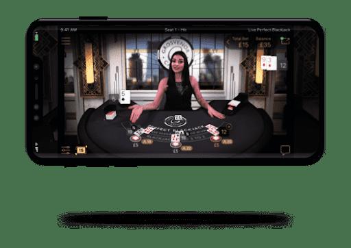 Blackjack en vivo en aplicaciones
